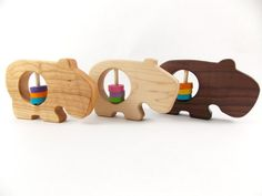 Wooden baby toys: hippo rattles