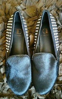 Kelsi Dagger Womens  Black With Silvwf Metal Studs Loafer Heels 6.5 Medium (B,M)