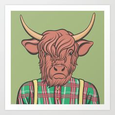 Buy Hipster cow Art Print by memememelinda. Worldwide shipping available at Society6.com. Just one of millions of high quality products available.