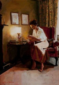 Lady Reading a Book by Lamplight (2001). Rowland Davidson...