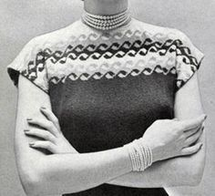 Music in the Air Sweater knit pattern (add skirt pattern to make a dress) from Hand Knit Fashions, originally published by Bernhard Ulmann Co, Volume No. 341, in 1950.