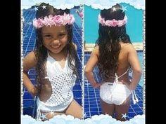 Maiô infantil de crochê para criança de 2 anos passo a passo para iniciantes - YouTube Baby Girl Crochet, Crochet For Boys, Baby Bikini, Beautiful Crochet, Baby Booties, Girl Outfits, Crochet Patterns, Girls Dresses, Swimsuits