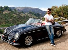 Didn't know whether to pin this under Eye Candy or Beautiful Cars....Adam Levine with his 1958 Porsche Speedster