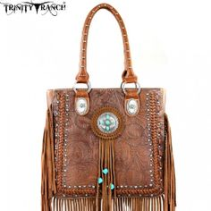 Brown Turquoise Fringe Western Purse