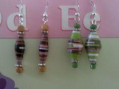 Mis creaciones: aretes de cuentas de papel...(paper beads earrings)...