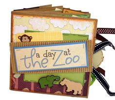A Day at the Zoo Scrapbook   Paper Bag Mini by apicketfencelife, $28.00