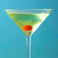 Sour Apple Martini (2 maraschino cherries with stems 1/3 cup sour apple schnapps (3 ounces) 2 tablespoons vodka  (1 ounce) Ice cubes Lemon-lime carbonated beverage)