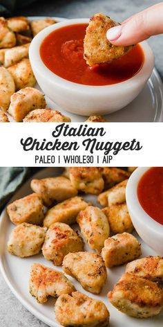 These paleo Italian chicken nuggets are flavorful and fun to dip in marinara sauce! They're egg free, grain free, and AIP. These paleo Italian chicken nuggets are flavorful and fun to dip in marinara sauce! They're egg free, grain free, and AIP. Paleo Diet Food List, Paleo Menu, Paleo Recipes, Cooking Recipes, Paleo Chicken Recipes, Egg Free Recipes, Recipe Chicken, Quick Recipes, Baked Chicken
