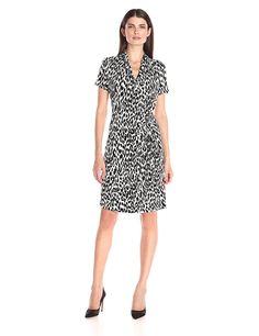 Karen Kane Women's Short Sleeve Animal Print Cascade Wrap Dress >>> Tried it! Love it! Click the image. : Women clothing
