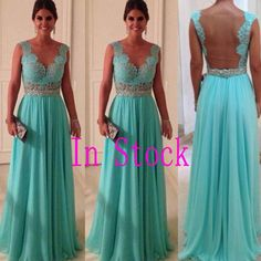 In Stock Fast Delivery Sweetheart Lace Top Green Crystal A-Line Floor-Length Chiffon Long  Evening Dresses Prom Dresses £58.02