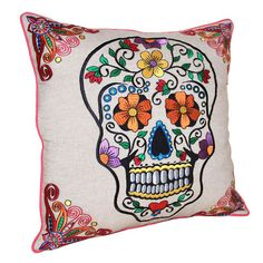 dia de los muertos Sugar Skull Art, Sugar Skulls, Skull Pillow, Skull Decor, Joss And Main, Embroidery Patterns, Embroidery Art, Decorative Pillows, Sewing Projects