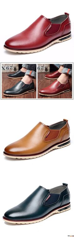 Free Shipping. 5 colors available. Men Leather Shoes Business Outdoor Slip On Oxfords. Men's style, chic style, fashion style.  Shop at banggood with super affordable price.