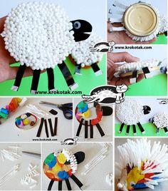 Cotton Bud and Plasticine SHEEP