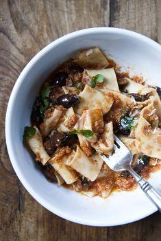 Fresh Pappardelle with Sauce Scarpariello
