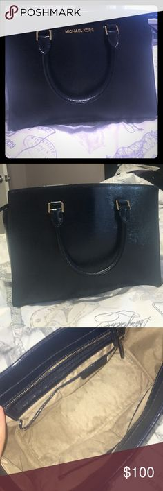 Navy blue Michael kors bag Almost like new. No defects on the outside of the purse, worn a couple of times. The inside has minor light pen stains inside as shown in the third picture! Will consider prices! Give me an offer! Happy poshing!  Bags Totes