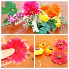 Silk Flower Magnets to update your space for spring! via createcraftlove.com #magnets #spring #crafts