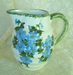 Vintage Pottery Pitcher w Blue Violets Clinchfield Blue Ridge Pottery