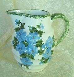 Vintage Pottery Pitcher w Blue Violets Clinchfield Blue Ridge Pottery