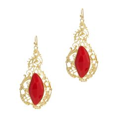 Any shade of orange is hot this season. Fabulous brush gold filigree drop earrings have a large persimmon faceted stone embedded in the center. On French Wires.   - Faceted resin, gemstones, gold metal(ALTHEA EARRINGS) $22.00