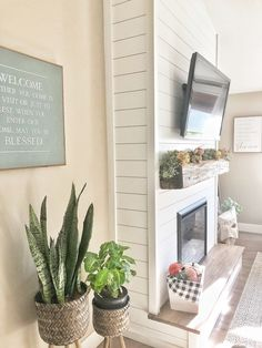 Fireplace Tv Wall, Build A Fireplace, Fireplace Built Ins, Shiplap Fireplace, Farmhouse Fireplace, Fireplace Remodel, Modern Fireplace, Living Room With Fireplace, Diy Faux Fireplace