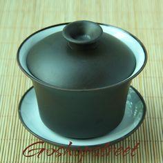 Chinese Wonderful RARE Yixing Zisha Glazed Gaiwan 90ml Dark Brown   eBay