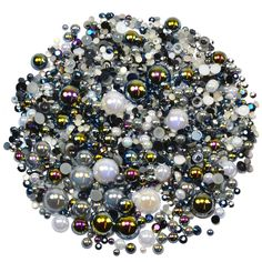 This embellishment pack contains a luscious mixture of rhinestones and pearls in tones of black grey and white The sparkly gems range in size from Decoden, Nail Decorations, Ornament Wreath, Grey And White, Embellishments, Card Making, Packing, Gems
