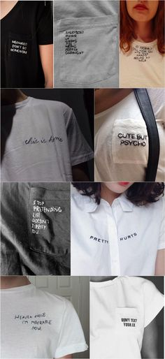 Hand embroidered embroidery t-shirts t-shirt top text words writing free form - I Arted Shirt - Ideas of I Arted Shirt - Hand embroidered embroidery t-shirts t-shirt top text words writing free form Diy Fashion, Ideias Fashion, Trendy Fashion, Fashion Ideas, Fashion 2017, Fashion Boots, Fashion Outfits, Fashion Trends, T-shirt Broderie