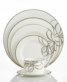 kate spade new york Dinnerware, Belle Boulevard 5 Piece Place Settings - Fine China - Dining & Entertaining - Macy's Bridal and Wedding Registry Fine China Dinnerware, Dinnerware Sets, Wedding China, China Sets, Royal Copenhagen, Delft, China Patterns, Royal Doulton, Place Settings