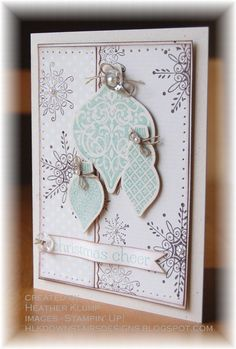 Stamps - Serene Snowflakes, Ornament Keepsakes, Sweet Essentials  Paper - Naturals Ivory, Very Vanilla, Very Vanilla DSP  Ink - Chocolate Chip, Pool Party  Accessories - Big Shot, Holiday Ornaments Framelits, Paper Piercing tool, Dotted scallop ribbon border punch, Linen thread, Designer Vintage Faceted buttons, Basic Pearls, Sponge, Dimensional dots, mini glue dots