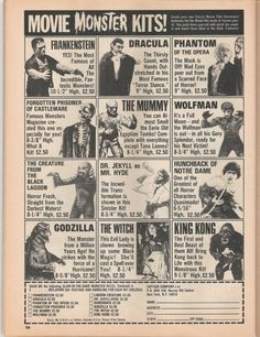 Monster model ads from Famous Monsters mag-circa 1974
