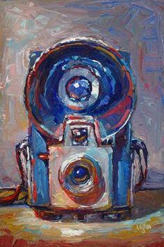 """Kodak Brownie Starflash Camera Blue"" - Original Fine Art for Sale - © Raymond Logan"