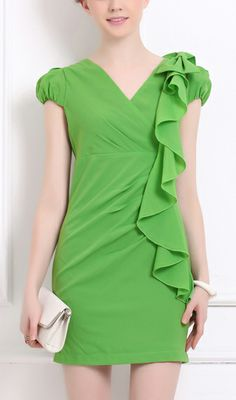 Puff sleeve slim-fit OL dress 88624