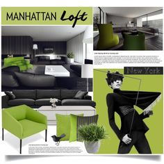 New York: Manhattan Loft by jenalind on Polyvore featuring interior, interiors, interior design, hogar, home decor, interior decorating, Arper, Linteloo, Arteriors and Ethan Allen