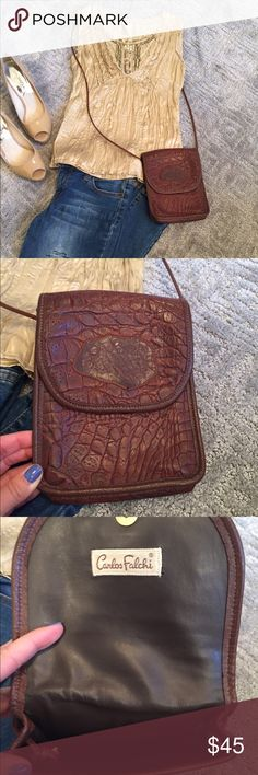 🌻Carlos Falchi small cross body bag🌻 Beautiful textured brown leather. This is great for small incidentals. Has one main compartment to the bag. Strap can be adjusted by re knotting on the inside. Currently at the longest length of 25 inches. Bag measures  7.5 x 6. Great condition! Carlos Falchi Bags Crossbody Bags