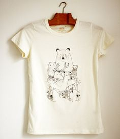 "Screen printed T-shirt  ""Wild beasts and mushrooms""."