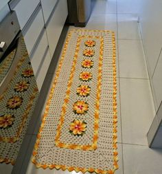 Anyone who thinks that crochet is a thing of the past is out! Crochet Squares, Crochet Doilies, Owl Rug, Crochet Carpet, Rugs And Mats, Flower Embroidery Designs, Crochet Home Decor, Crochet Kitchen, Love Crochet