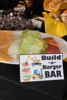 Construction Theme party food idea - burger bar.