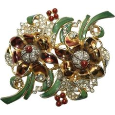 Rare-Coro-Floral-Enamel-Rhinestone-Duette-Pin-Brooch-1930s-Bk-Pc