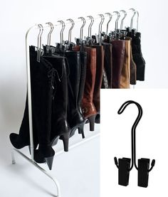Best Selling Boot Organizer: The Boot Rack Garment & Boot Storage- Fits in Most Closets (The Boot Rack with 6 Silver Hangers) Boottique- The Boot Hanger Company Shoe Storage Space Saver, Boot Storage, Storage Spaces, Storage Ideas, Storage For Boots, Storage Solutions, Secret Storage, Closet Storage, Storage Rack