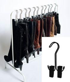 Black boot hanger. Shoe organization.