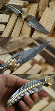 Knife King Baby Blue Full Custom Damascus Handmade Folding Knife it look like golden snitch Pretty Knives, Cool Knives, Swords And Daggers, Knives And Swords, Armas Ninja, Ninja Weapons, Weapon Concept Art, Fantasy Weapons, Custom Knives