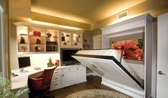 What a space saver a murphy bed provides in this study/guest bedroom.