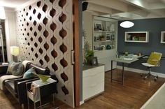 """love the retro pattern fade out in the moveable wall chip made in """"elbow room"""" on hgtv."""