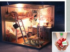 New Young Memories Dollhouse Miniature DIY Kit w Cover andToy doll house  GIFT #cuteroom