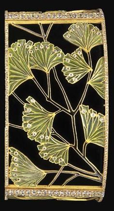 AN ART NOUVEAU PLIQUE-A-JOUR ENAMEL AND DIAMOND CHOKER, BY LUCIEN GAILLARD. Designed as three openwork panels of plique-à-jour green enamel ginkgo leaves, enhanced by black enamel stems and rose-cut diamonds, with rose and old European-cut diamond trim, with a black velvet ribbon backing, mounted in gold, circa 1900, 13¼ ins. Signed L. Gaillard.
