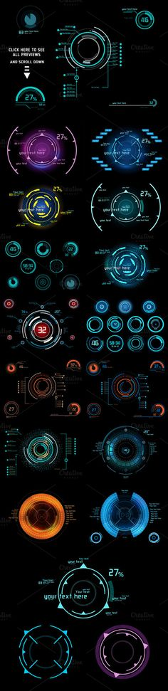 抽象科幻元素数据监控操作矢量 17EPS...