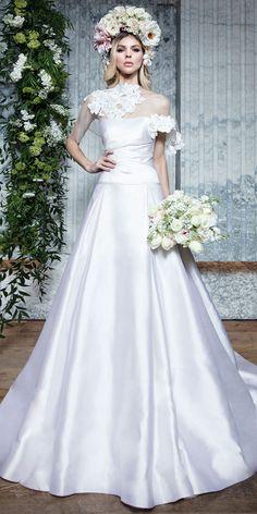 8dd8eafbc8  175.50  Gorgeous Satin   Tulle Strapless Neckline A-line Wedding Dresses  With Detachable Shawl   Lace Appliques   Beadings