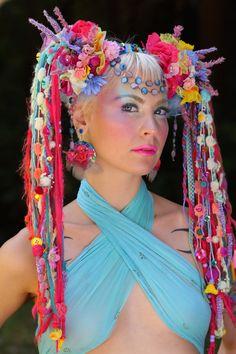 Rainbow fairy tribal unicorn rainbow bright flower goddess tribal wig headdress www.etsy.com/shop/lotuscircle