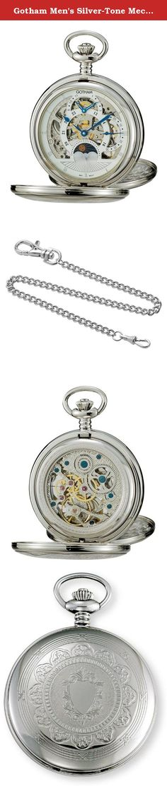 Gotham Men's Silver-Tone Mechanical Double Cover Dual Time Pocket Watch # GWC18803S. This classic and elegant silver-tone exhibition pocket watch from Gotham is the perfect addition to anyone's timepiece collection. Features include a precision 17 jewel mechanical dual time movement showcased in full view when the front and back case covers are opened showing all moving parts, highly polished intricately designed silver-tone case and scratch resistant mineral crystals to protect your...