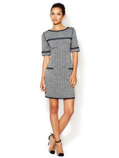 Boucle Piped Shift Dress